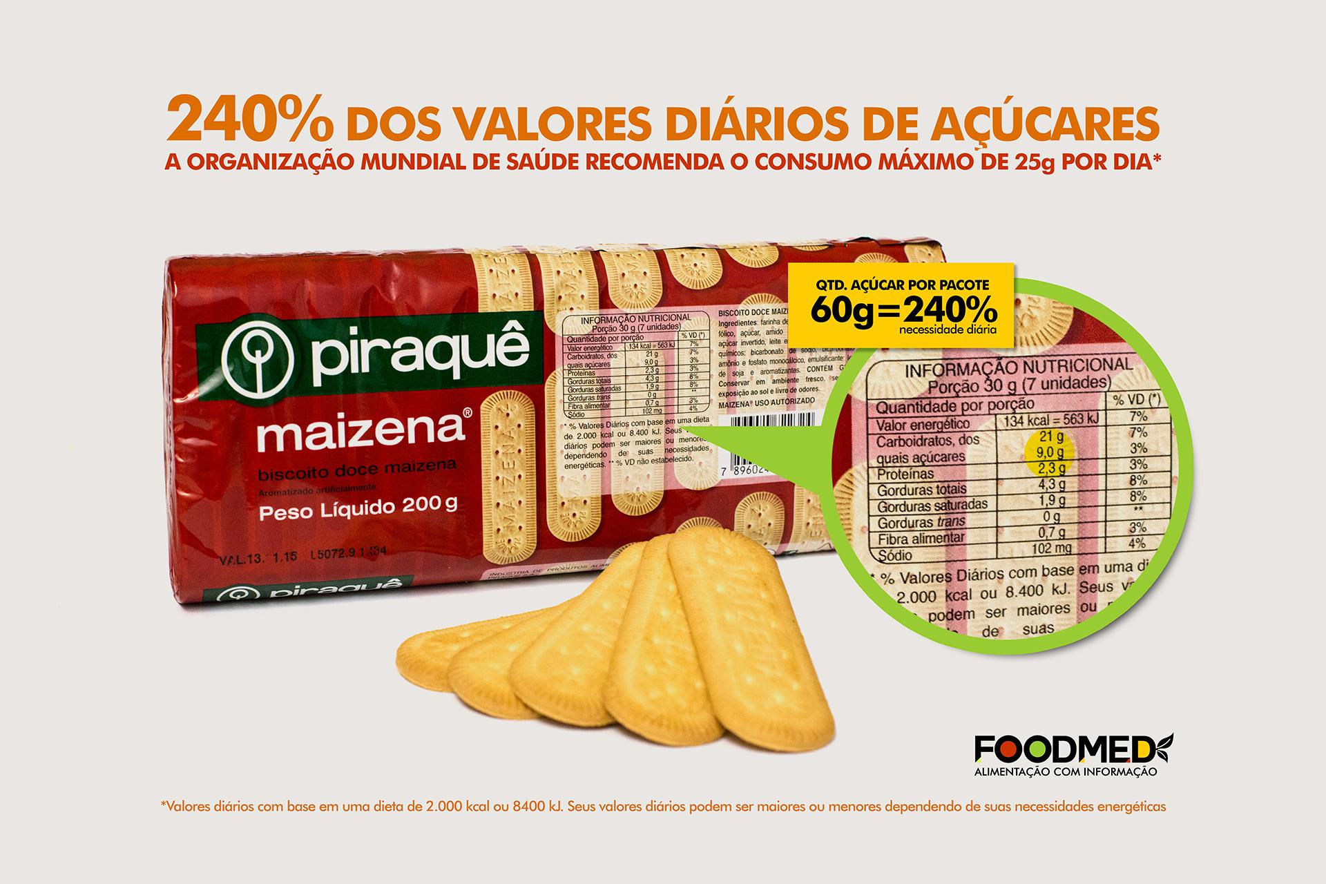 Quantidade de Açúcar no Biscoito Maizena Piraquê
