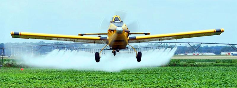 Avião aplicando agrotóxico sobre plantação